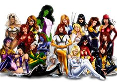Marvel women: Black Cat, Black Widow, Dagger, Dazzler, Elektra, Emma Frost, Invisible Woman, Jean Grey, Jubilee, Misty Knight, Ms. Marvel, Mystique, Psylocke, Rogue, Scarlet Witch, She-Hulk, Shadowcat, Spider-Woman, Storm, Wasp, X-23