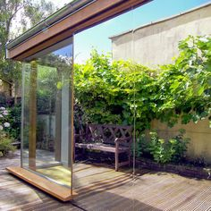 mirror to reflect plants space sunlight back into house. I like the concept of mirrored one-side conservatories. They give the impression of making your garden much bigger and create privacy on the interior, often helping to keep them cool in summer
