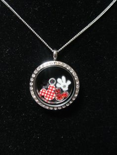 Minnie Mouse Red Polka Dot Origami Inspired by HokeyDonut Origami Owl Charms, Origami Owl Lockets, Origami Owl Jewelry, Disney Necklace, Disney Jewelry, Disney Mouse, Mickey Minnie Mouse, Cute Jewelry, Geek Jewelry