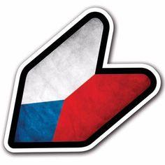 Grunge Czech Republic - JDM Wakaba Leaf Flag Decal Sticker Car Macbook iPad #CUSTOMI