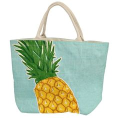 Tropical Pineapple Tote Bag ($13) ❤ liked on Polyvore featuring bags, handbags, tote bags, accessories, fruit, green purse, beach tote, tote bag purse, tote handbags and green tote handbag