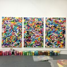 Sun Is Rising, 2013-14  Acrylic on wood panel,  Triptych 48x72 in each