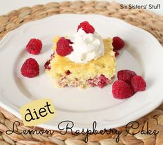 Diet Lemon Raspberry Cake from sixsistersstuff.com.  A low fat tasty treat to so you can have your cake and eat it too! #recipes #lowfat #cake