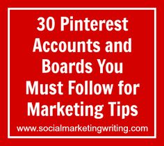 Would you like to see the latest marketing tips in your Pinterest feed? Here's a list of Pinterest accounts and boards you must follow in order to get a...