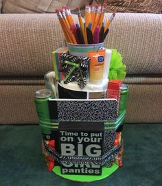 Care package for a college or grad student. Homemade gifts. college-dorm-survival-cake