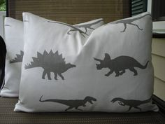 Kids Pillow Covers One Pair 12 x 16 Dinasour Print Grey and White Handmade