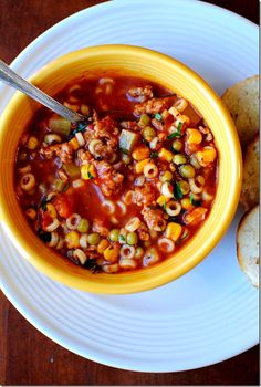 THE BEST Minestrone Soup with Baked Garlic Bread