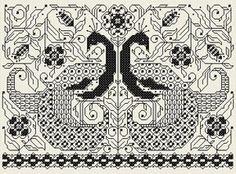 Blackwork peacocks