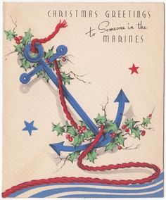 vintage greeting card christmas to someone in the marines anchor military 1940s ebay christmas card