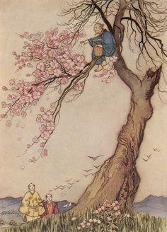 antique, art, fairy tale, flower, flowers, illustration, japanese, pretty, tree, trees, vintage, warwick goble