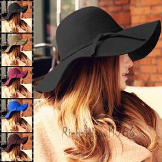 Fashion Women Winter Floppy Wide Brim Fedora Hat Wool Felt Cashmere Trilby Cap