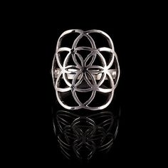 Flower of life silver ring,sacred geometry jewelry,seed of life rings,silver rings rings (code 284)