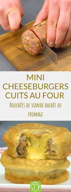 Vous êtes plutôt hamburger ou cheeseburger ? Aujourd'hui, nous nous rangeons aux côtés des amateurs de cheeseburger en leur proposant une recette totalement inédite : des cheeseburgers miniatures à partir d'un roulé de viande. Un simple croc dans ces petites bouchées et vous comprendrez. #cheeseburger #bouchées #roulédeviande #viadehachée #pâteàfrire #apéritif #cheddar New Recipes, Recipies, Cooking Recipes, Hamburgers, Cheddar, Corn Salsa, Pitaya, Easy Casserole Recipes, Beef Dishes