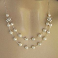 Wedding Pearl Jewelry - Bridal Pearl Necklace - Double Strand Pearl and Crystal Flower Bridal Necklace in White or Ivory - JaniceMarie