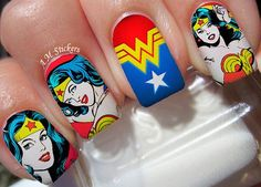 Wonder Woman Nail Decals by AMnails on Etsy