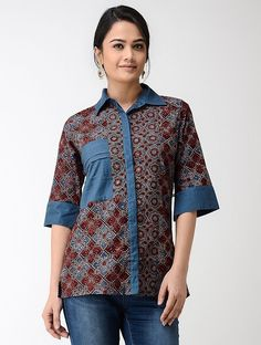 Maroon-Blue Ajrakh Cotton Shirt