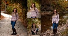 Class of 2016, photographer, photography, photos, senior, girl, long hair, brunette, fall, gray, woods, park, trail, outdoors, portrait, autumn, trees, river, riverbank, stone, scarf, boots