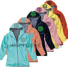 Monogrammed Rain Jacket. I so need one!!!!