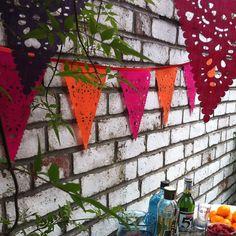 Pink and orange wedding Bunting, fabric bunting, pink orange garland