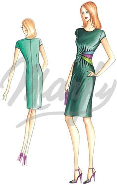 Mt 1 70 alt 1 40 Available in sizes 42 46 50 This draped sheath dress has satin bands in three colors and very short set-in sleeves Suggested fabric crêpe jersey or velvet Pattern Dress, Dress Sewing Patterns, Fashion Art, Fashion Outfits, Womens Fashion, Fashion Design, Marfy Patterns, Dress Illustration, Gown Suit