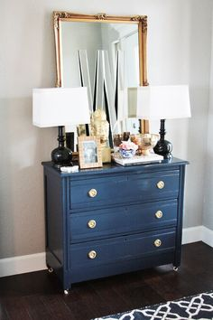 Wall Color idea of navy dresser: Benjamin Moore Polo Blue (or try BM Hale Navy) Entry wall: Sherwin Williams Mindful Gray