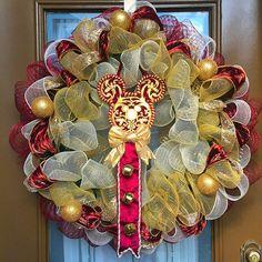 Disney Mickey Ears Jingle Bell Deco Mesh by WelcomeHomeWreath
