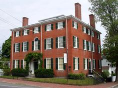 The Cushing House  (circa 1808), is a Federal style mansion in Newburyport, Massachusetts. It was a home of diplomat Caleb Cushing. The house is a center entrance four-story brick mansion in the Federal style, with center entrance at both the front & sides, & two chimneys at each side. In shape it is a flattened cube, with five windows arranged symmetrically across both front & sides. Its main entry is crowned with a modest fanlight, echoed by a fan-shaped wooden motif atop the window above…