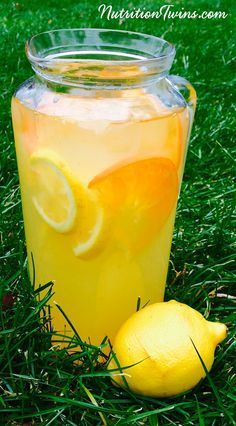 Mixed Citrus Ginger Flush | We adore this drink –it's loaded with great stuff to get your body back on the straight and slim! | Helps Flush bloat & helps liver in detox process | For MORE RECIPES please SIGN UP for our FREE NEWSLETTER www.NutritionTwins.com