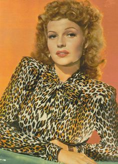 Rita Hayworth in a leopard blouse, 1940s