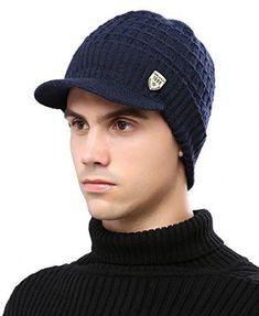 515a68e1c37 Headshion Mens Knit Beanie Hat with Visor Brim Winter Baseball Cap with  Fleece  fashion