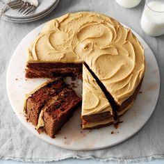 Contest-Winning Chocolate Potato Cake - Taste of Home Sweet Recipes, Cake Recipes, Dessert Recipes, Dessert Ideas, Cake Ideas, Chocolate Potato Cake, Fall Birthday Cakes, Caramel Icing, Potato Cakes