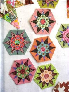 The blocks above are the beginning of a new quilt titled Grandma's Star by Sue