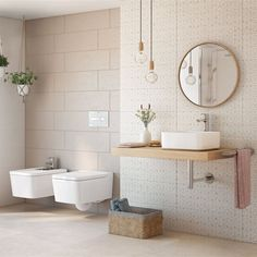 Paredes y suelos del baño también visten a la moda
