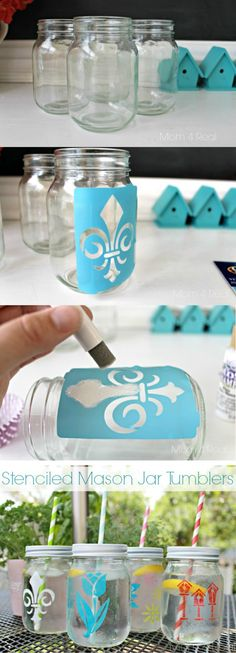 Stenciled Mason Jars - would be cute for food as well , stenciling in labels (pasta, rice, quinoa, etc) Summer Crafts Mason Jar Projects, Mason Jar Crafts, Bottle Crafts, Cute Crafts, Crafts To Do, Diy Crafts, Diy Tumblr, Pot Mason Diy, Pots Mason