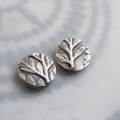 Post Earrings Fern Leaf Botanical Fine Silver Sterling Rustic Nature