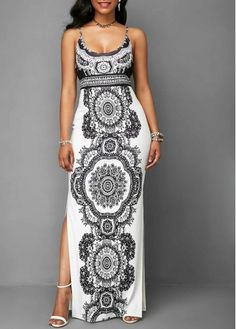 Spaghetti Strap Side Slit Printed Maxi Dress | Rosewe.com - USD $31.88