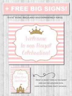 Princess Party decor poster printable wonderbash