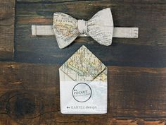 Map Self Tie Bow Tie Map Pocket Square Matching Set Map Bow
