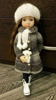 OOAK grey woolen outfit for Dianna Effner Little Darling 13""