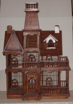 Vintage Wooden Architectural Victorian Cathedral Dome Wood Bird Cage Castle