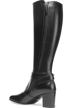 Heel measures approximately 65mm/ 2.5 inches Black leather Zip fastening along side Made in Italy