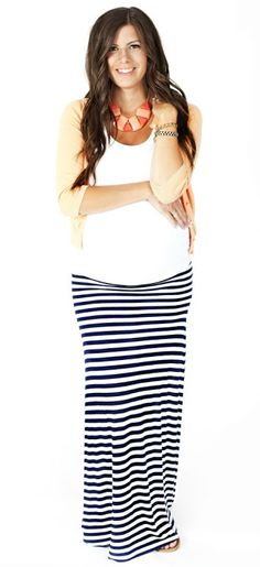 Stripes and maxis are still in and this skirt fits all stages of pregnancy & postpartum. Pair with a short denim jacket and infinity scarf for fall.