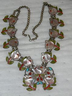 Porfilio Sheyka A Magnificent Zuni Inlaid Rose Necklace Earrings
