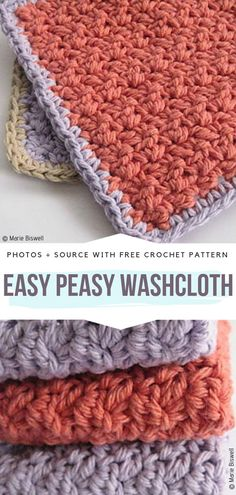 Washcloth Room Essentials - Washcloth - Ideas of Washcloth - Textured Crochet Washcloths Free Patterns Washcloth Ideas of Washcloth Easy Peasy Washcloth Free Crochet Pattern Crochet Patterns For Beginners, Easy Crochet Patterns, Knitting Patterns Free, Free Crochet, Crochet Dishcloths Free Patterns, Beginner Crochet, Crochet Ideas, Crochet Projects, Knitted Washcloths