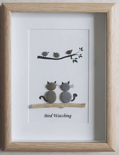 Pebble Art framed Picture Bird Watching This is a beautiful small Pebble Art framed Picture of 2 Cats watching Birds- Bird Watching handmade by myself using Pebbles and Driftwood Size of Picture incl Frame : approx. Pebble Pictures, Stone Pictures, Art Pictures, Stone Crafts, Rock Crafts, Arts And Crafts, Caillou Roche, Art Rupestre, Images D'art