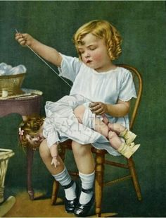 What a lovely vintage illustration of this little girl sewing her doll back up. Images Vintage, Vintage Pictures, Vintage Postcards, Vintage Ideas, Sewing Art, Vintage Sewing Patterns, Sewing Dolls, Baby Sewing, Vintage Canvas