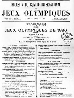 Program for the 1896 Olympic games 1896 Olympics, Modern Games, Greek History, Bulletins, Summer Olympics, Female Athletes, Olympic Games, Beautiful Landscapes, Athens