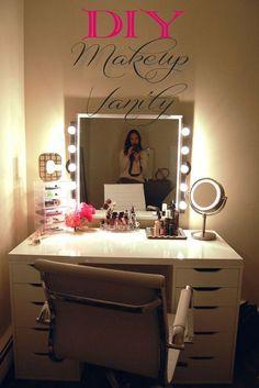 DIY Dresser Ideas for Teen Girls Bedroom | DIY Vanity by DIY Ready at http://diyready.com/diy-projects-for-teens-bedroom/: