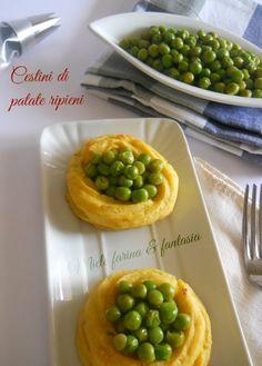 Cestini di patate ripieni di piselli.Ricetta per Pasqua