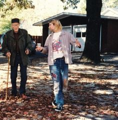 William S. Burroughs and Kurt Cobain : William S. Burroughs and Kurt Cobain in a garden at autumn season Patti Smith, Jacqueline Bisset, Madonna, Hugh Laurie, Kurt Vonnegut, Matt Dillon, Kennedy Jr, Richard Gere, Gary Oldman